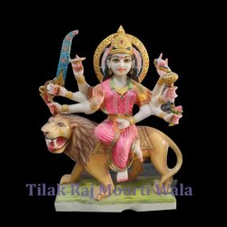 Multicolor Sherawali Maa Marble Statue