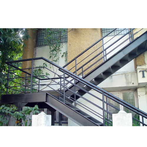Elegant Dog Legged Outdoor Stainless Steel Staircase