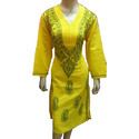 Casual Ladies Cotton Yellow Embroidered Straight Kurti