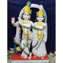 Painted White Marble Radha Krishna Statue