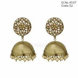 American Diamond Mehandi Polish Jhumka Earrings