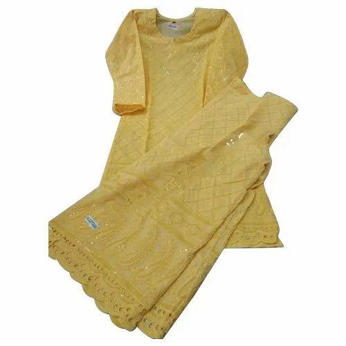 Yellow Cotton Ladies Embroidered Chikan Palazzo Suit, Machine wash