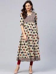 Wedding Wear Plain Cotton Printed Long Dress, Packaging Type: Bag