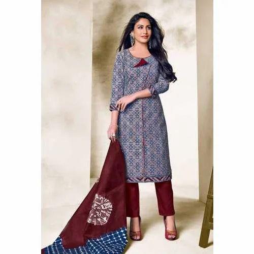 b7c0ea96bc Party Wear Designer Cotton Printed Ladies Unstitched Suit, Rs 650 ...