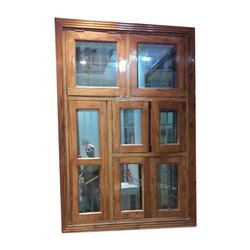 Brown Designer Wooden Window, Rectangular