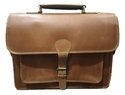 Brown Plain Genuine Tan Leather Briefcase