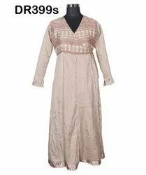 Vintage Recycled Saris Women's Wrap Long Dress DR399s