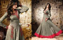 Pure Soft Silk & Resham Work Anarkali Suit