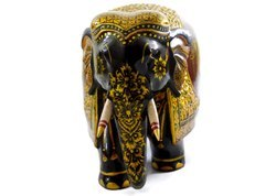 Handmade Kadam Wood Elephant With Pure Gold Work Handcarved
