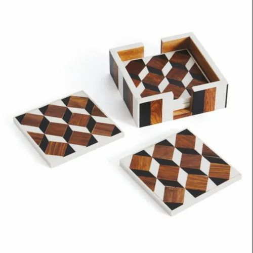 Wood Square Wooden Tea Coaster, Size: 4 Inch