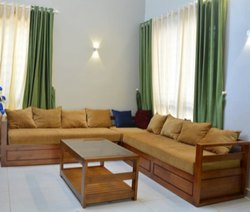 Teak Wood Corner Sofa, Model Name/Number: LRFSQRCNR