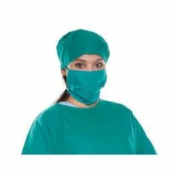 Green Cotton Surgical Cap And Mask, For Hospital, Quantity Per Pack: 50 Set