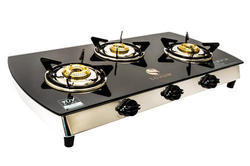 Sohum Stainless Steel 3 Burner Cut Glass Stove