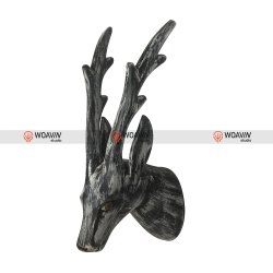 Wooden Reindeer Wall Hanging Distressed Black White