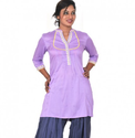 Purple Women Thigh Length Kurta