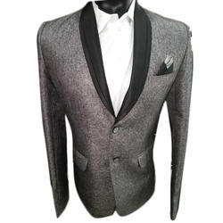 Grayish Black Plain Mens Party Wear Blazer