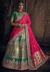 Rama Green Banarasi Bridal Lehenga Choli