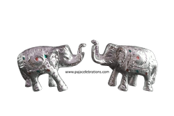 White Metal Elephant Pair