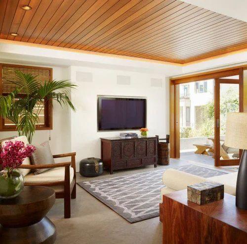 Living Room Modern Living Room Wood Ceiling Design