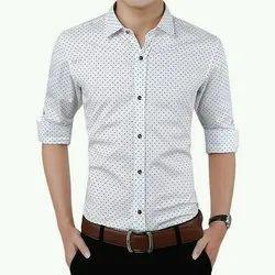 Dotted Cotton Men Casual Wear Shirt