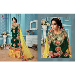 b2475e0d76 Dark Green And Yellow And Georgette Ladies Dark Green Bridal Suits ...