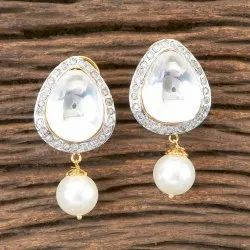 Brass Drop Two Tone Plated Designer Classic Earring 350336