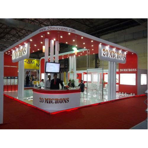 Exhibition Stall Price : Red and white designer exhibition stall rs square