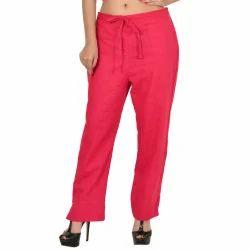 Multicolor Plain Women Red Color Cotton Slub Trouser