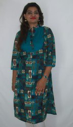 Cotton And Cotton Cambric Casual Wear Ladies Designer Ethnic Kurti, Hand Wash, Machine Wash, Size: Available In S To XXXL