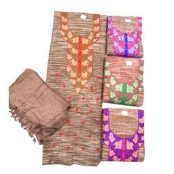 Available In Many Color Semi-stitched Ladies Khadi Suit Material