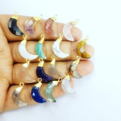 Gemstone Crescent Charms