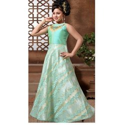 Sea Green Silk and Net Kids Long Designer Gown