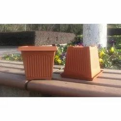 Brown Square Flower Pots
