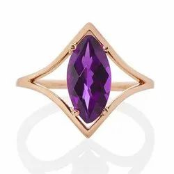 Amethyst Long Marquise Diamond Shape Rose Gold Ring