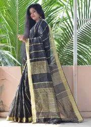 KartSell Ethnic Handloom Designer Cotton Silk Black Saree