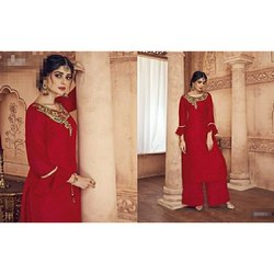 Silk Party Wear Red Ladies Kurti with Plazzo, Size: L & XXL