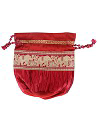 Cotton Fabric Maroon Designer Patch Work Bag Pouch