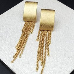 Br New Design Gold Plated Stud Women Long Chain Earrings