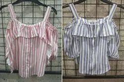 Girls Rayon Stripped Off Shoulder Top