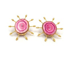 Fashion Earring Handmade of Natural Solar Agate Gemstone with Gold plated