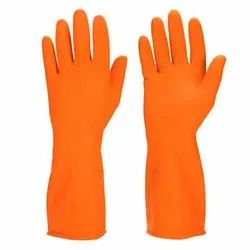 Plain Orange Rubber Hand Gloves