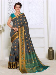 Cotton Silk Bridal Wear Fancy Saree With Blouse Piece