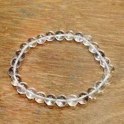 Clear Quartz Sphatik Round Beads Elastic Bracelet