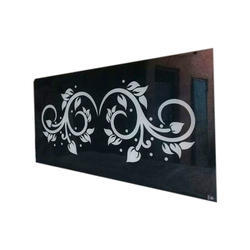 Black And White Floral Printed Glass