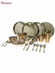 Copper / Stainless Steel Thali Set (28 Pcs) for 4 People