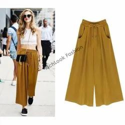 Ladies Casual Wear Rayon Plain Palazzo Pants