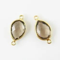 Gold Plated Smoky Quartz Handmade Gemstone Connectors