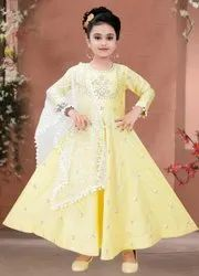 Kids Silk Anarkali Suit Designer Dupatta