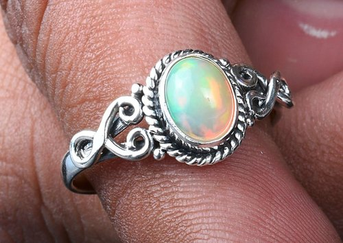 Details about  /100/% Natural Ethiopian Welo Fire Opal 925 Sterling Silver Ring All Size 3To15 =5