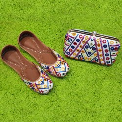 Fancy Design Punjabi Jutti With Matching Clutch